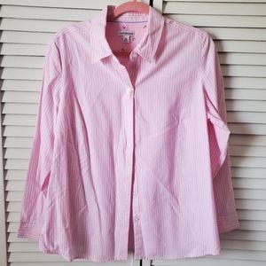 Croft&Barrow pink pinstripe button down XL